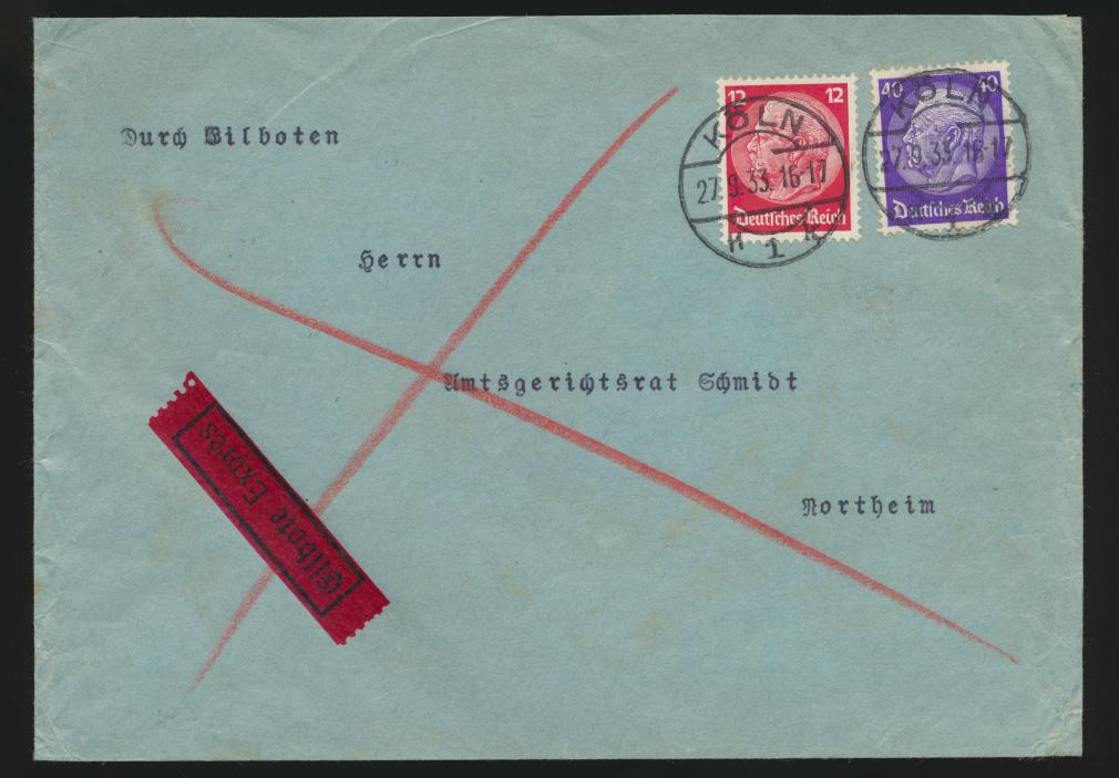 Deutsches Reich Eilboten Express Brief MIF 487 + 491 Hindenburg Köln n. Northeim 0