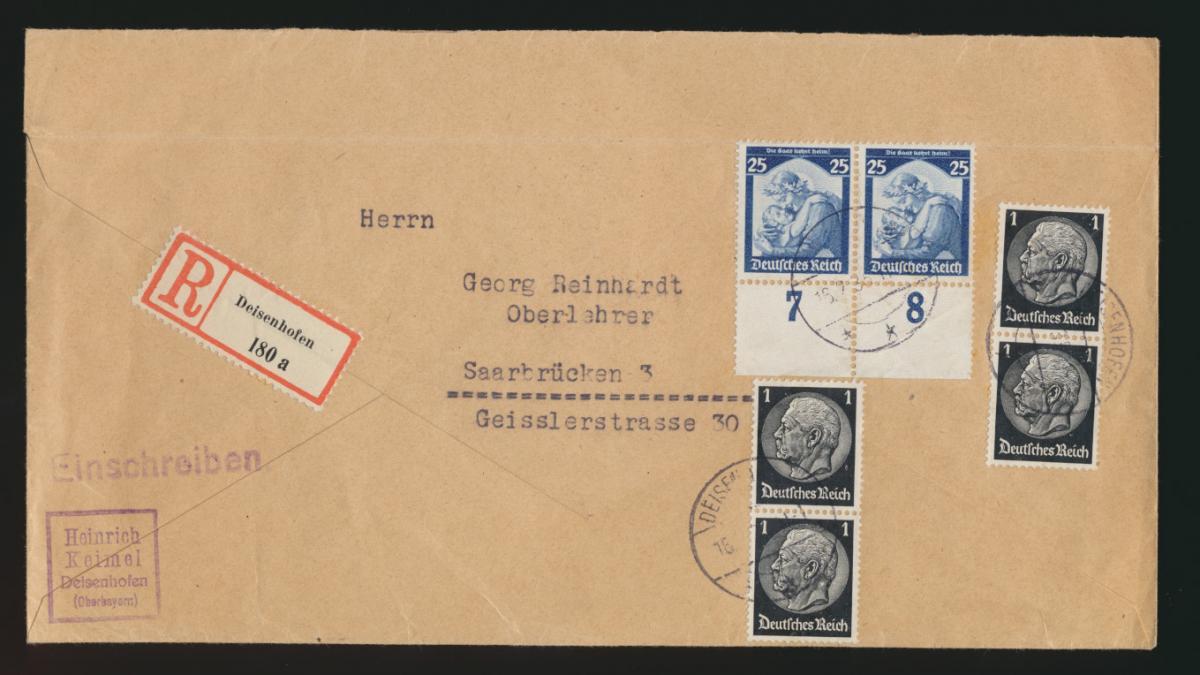 D. Reich R Brief MIF 568 Saarabstimmung + Hindenburg Deisenhofen Saarbrücken 0