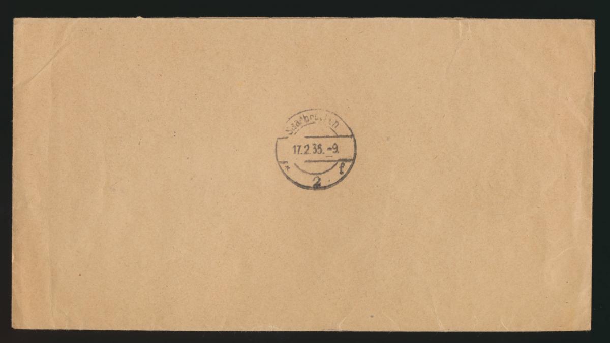 D. Reich R Brief MIF 568 Saarabstimmung + Hindenburg Deisenhofen Saarbrücken 1