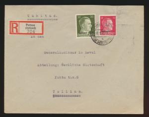 Besetzung Deutsche Dienstpost Ostland R Brief MIF Hitler Aufdruck Pernau Tallinn