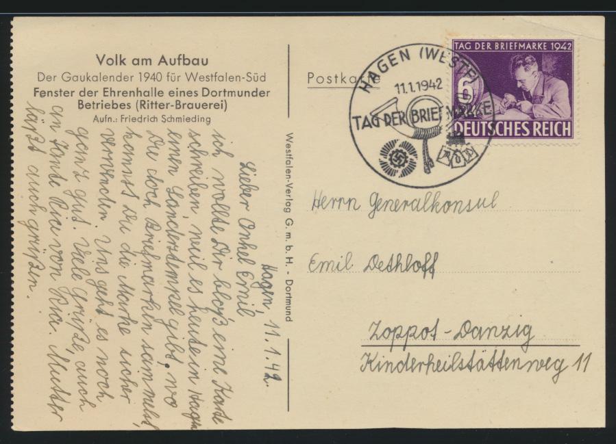 Deutsches Reich Propagandakarte Volk am Aufbau 811 FDC Hagen Gaukalender 1940 1