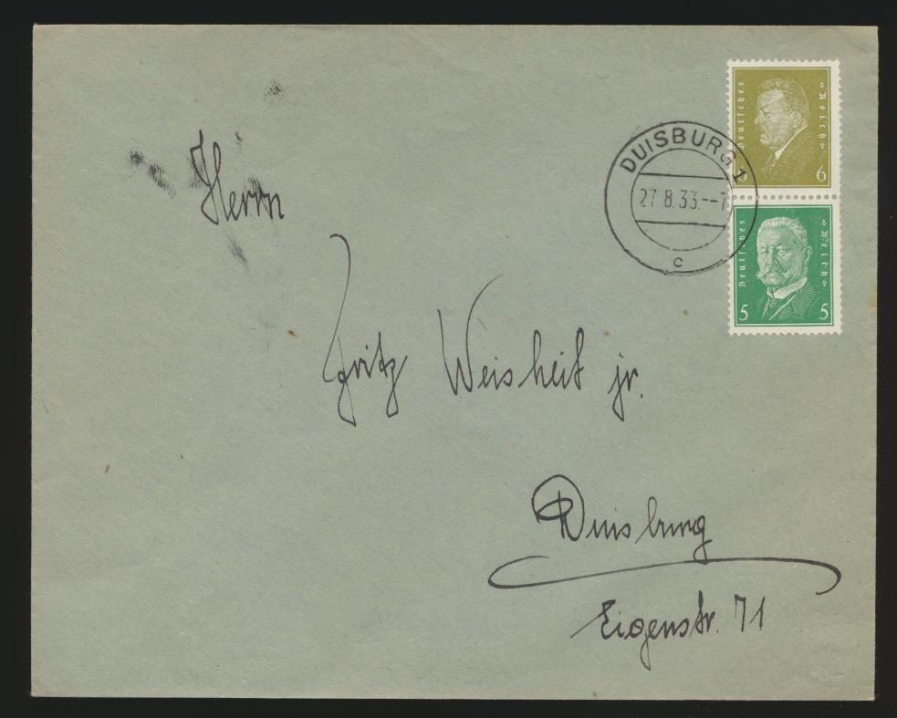 Reich Zusammendruck Brief Präsidenten S 44 Duisburg 27.8.1933 0