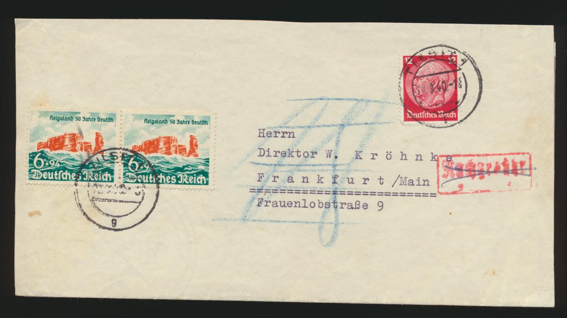 Deutsches Reich Brief Nachgebühr Paar 750 Tilsit Frankfurt 10.9.1940 0