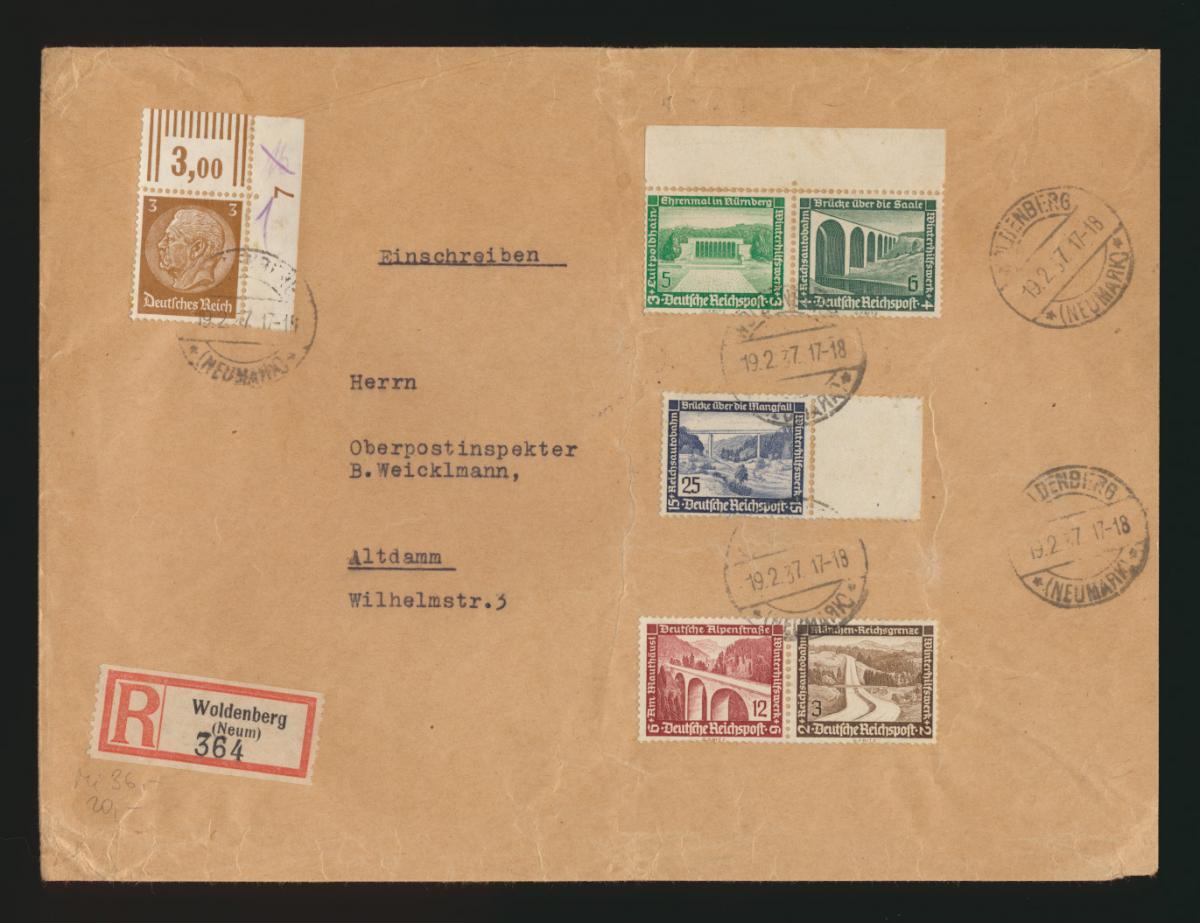 D. Reich R Brief Zusammendruck WHW Bauten Woldenberg Neum nach Altdamm 0