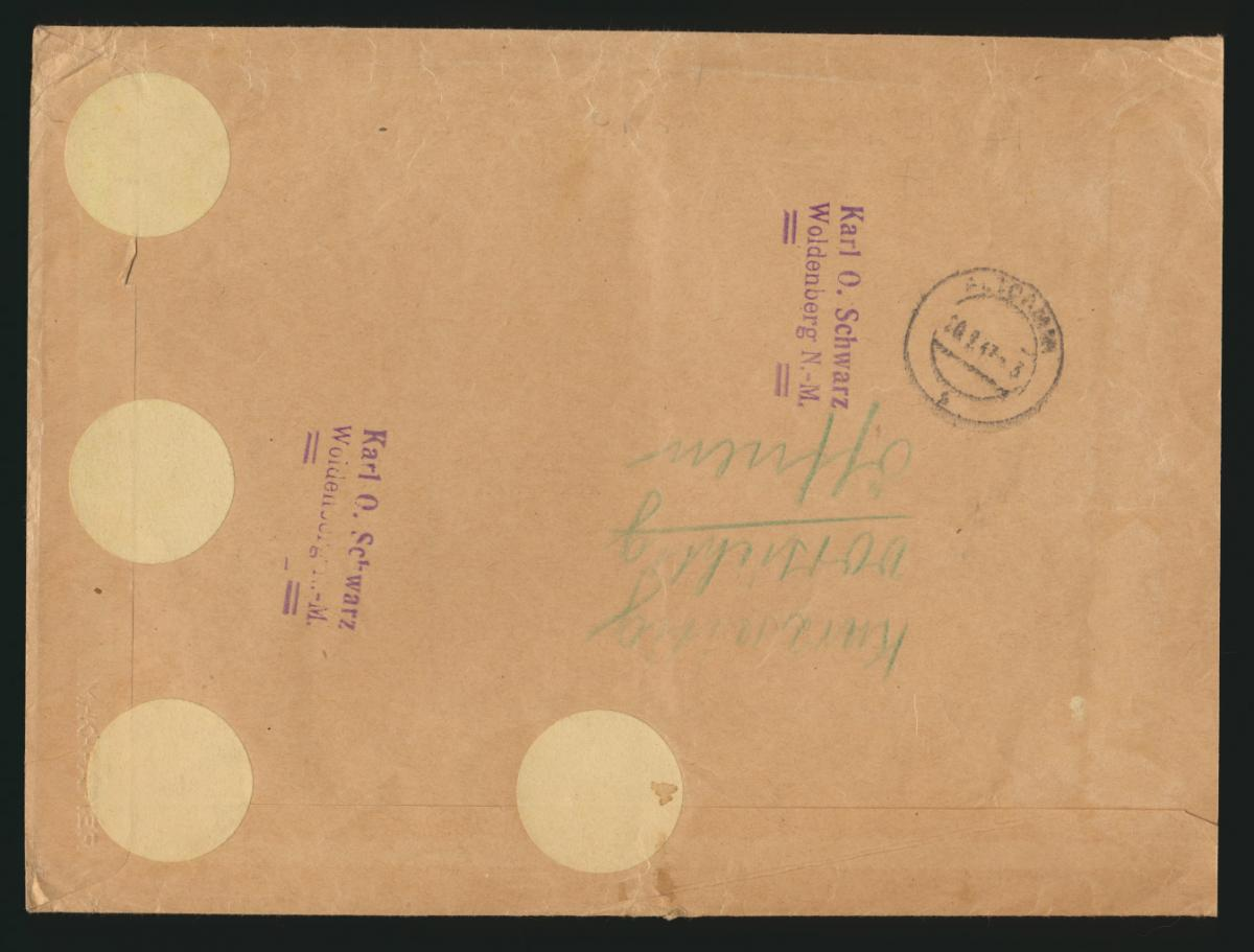 D. Reich R Brief Zusammendruck WHW Bauten Woldenberg Neum nach Altdamm 1