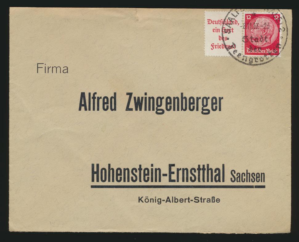 Deutsches Reich Brief Zusammendruck Hindenburg W67 Saalfeld Hohenstein Ernstthal 0