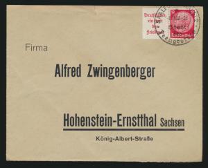 Deutsches Reich Brief Zusammendruck Hindenburg W67 Saalfeld Hohenstein Ernstthal