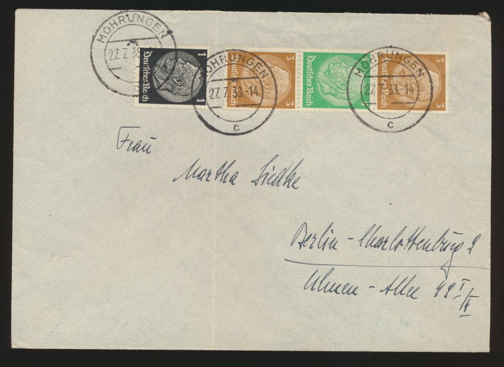 Deutsches Reich Brief Zusammendruck Hindenburg S 128 Mohrüngen Berlin 27.7.1938  0