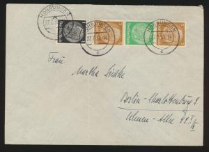 Deutsches Reich Brief Zusammendruck Hindenburg S 128 Mohrüngen Berlin 27.7.1938