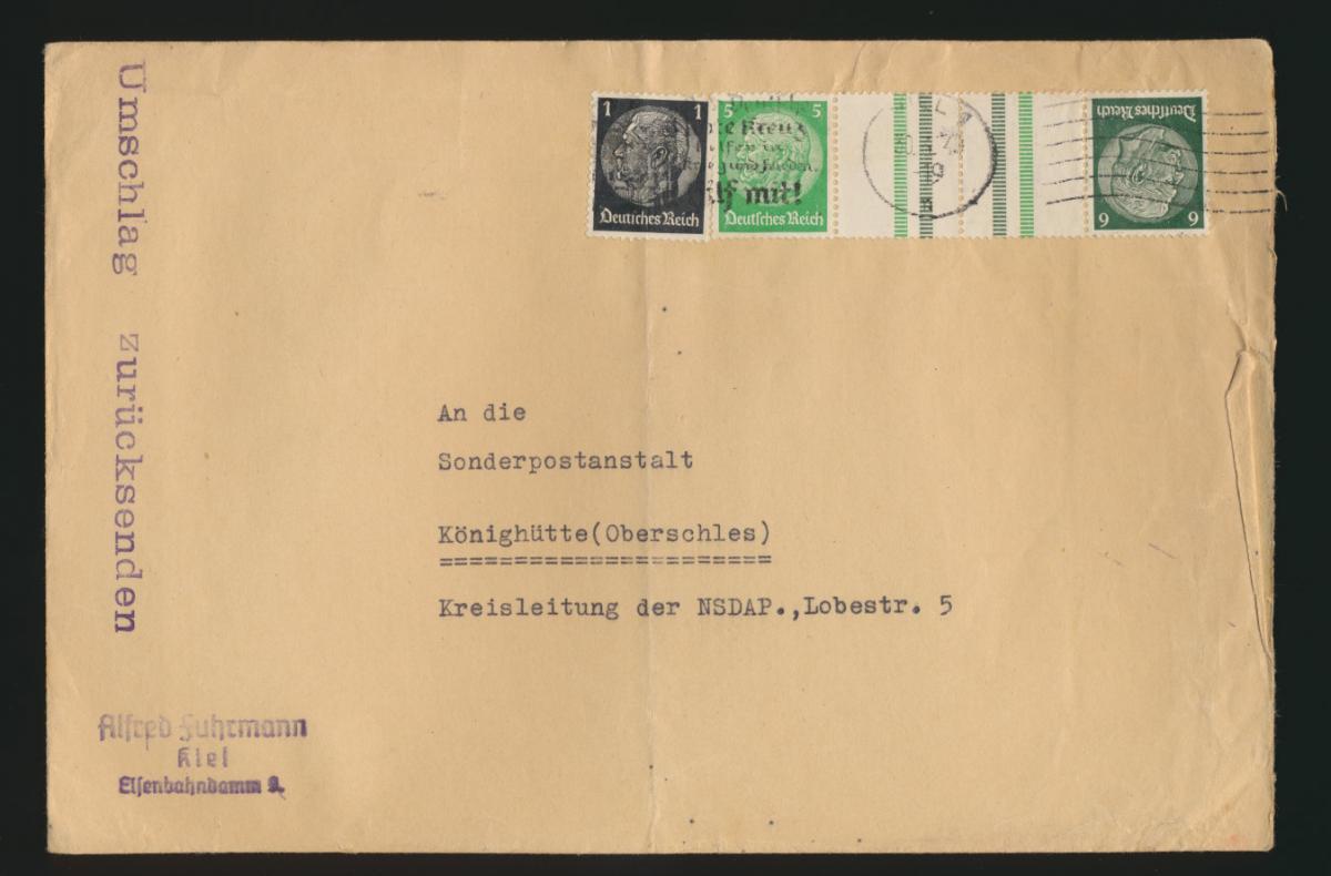 D. Reich Brief Zusammendruck Hindenburg KZ 32 Kiel Königshütte Schlesien Chorzów 0