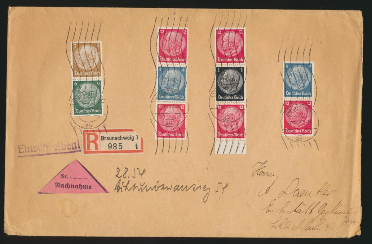 D. Reich Nachnahme Brief Zusammendruck 4 verschied. Hindenburg Braunschweig 0