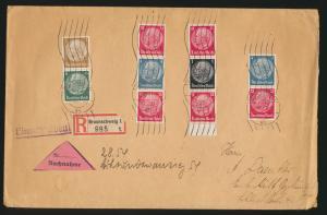 D. Reich Nachnahme Brief Zusammendruck 4 verschied. Hindenburg Braunschweig