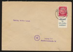 D. Reich Nachnahme Brief Zusammendruck Hindenburg S 157 Dresden Leipzig