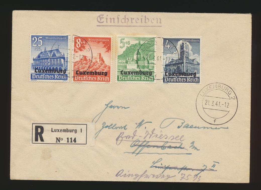 Besetzung 2. Weltkrieg Luxemburg R Brief WHW Offenbach + nach gesendet 21.3.1941 0