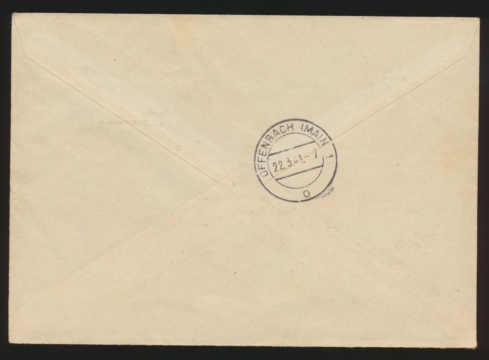Besetzung 2. Weltkrieg Luxemburg R Brief WHW Offenbach + nach gesendet 21.3.1941 1