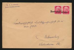 Besetzung 2. Weltkrieg Elsaß Hindenburg Aufdruck und L1 Dambach nach Straßburg