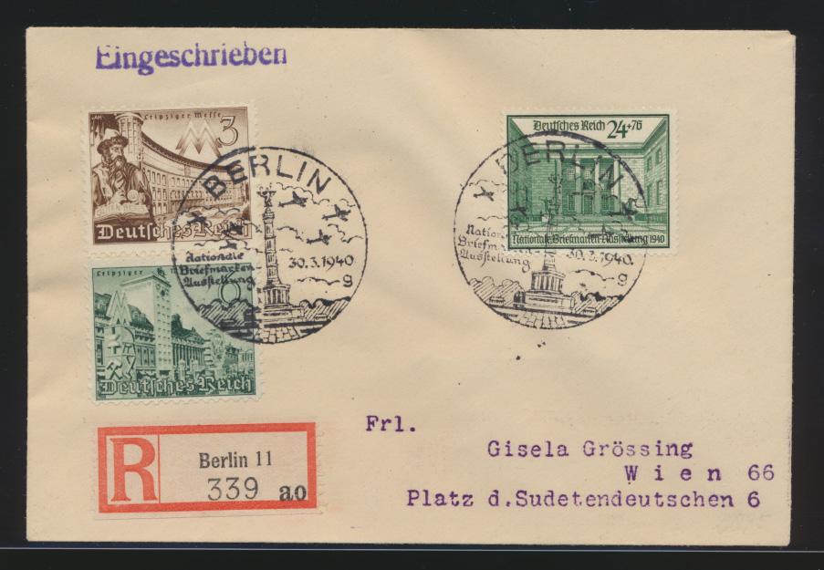 Deutsches Reich R Brief Briefmarkenausstellung 743 Berlin nach Wien Österreich 0