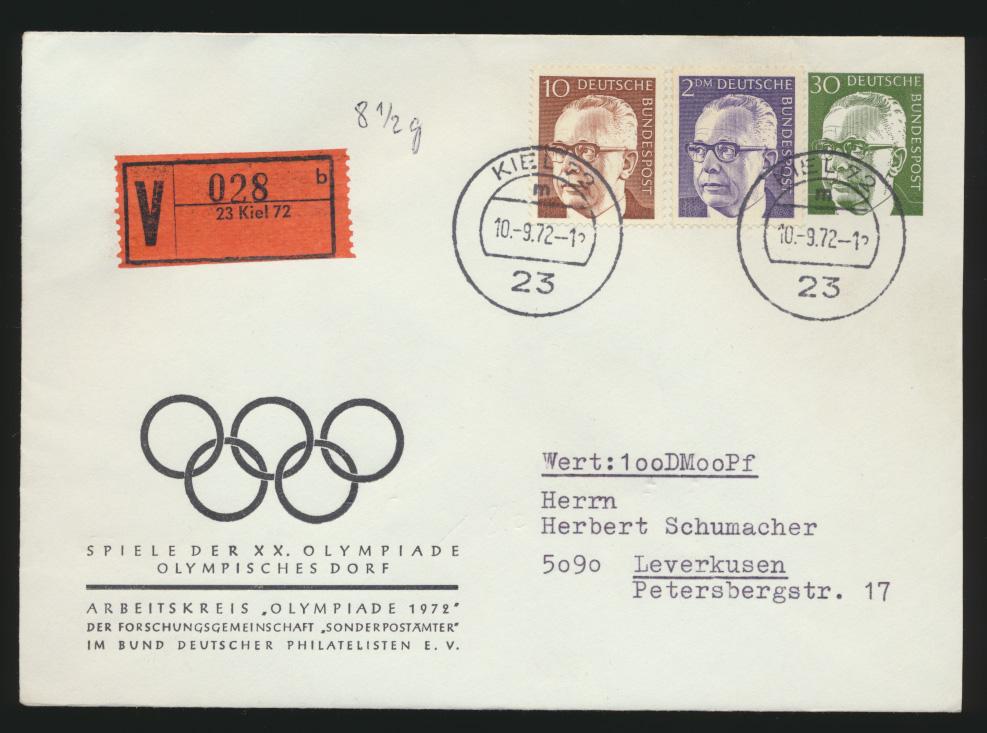 Bund Privatganzsche Wertbrief Olympia ab Kiel nach Leverkusen Sport München 1972 0