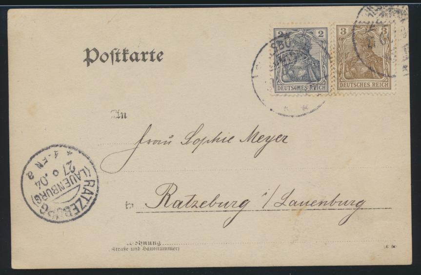 Foto Ansichtskarte Kleinborstel nach Ratzeburg selten 1904 1
