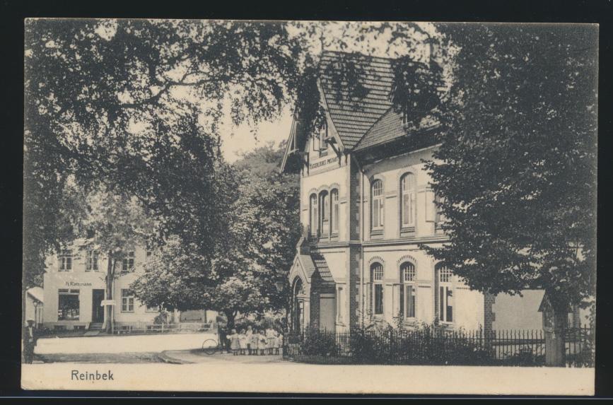 Foto Ansichtskarte Reinbeck Kaiserliches Postamt n. Hamburg St. Pauli 10.7.1908 0