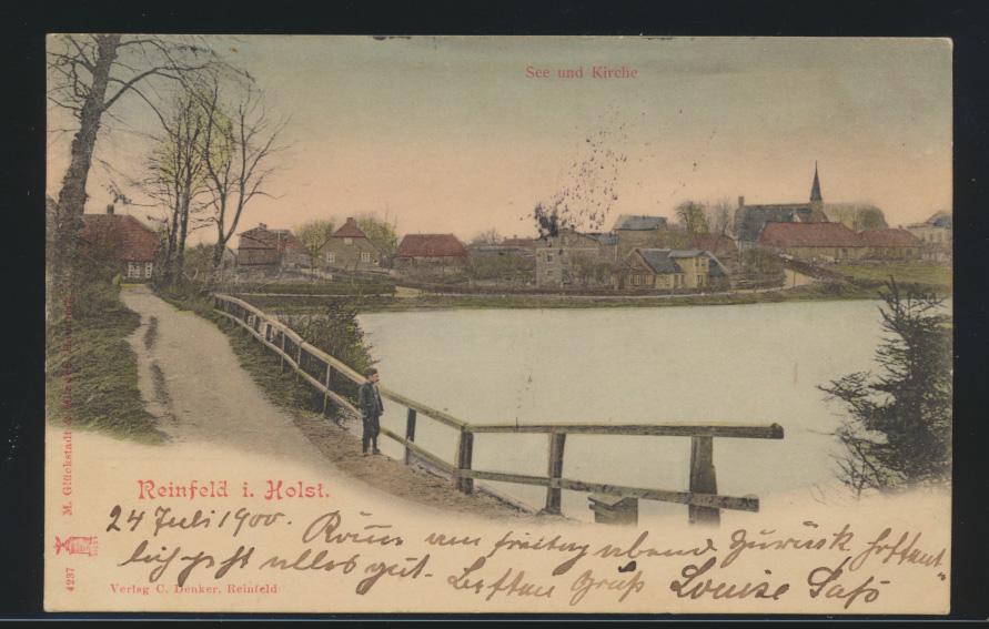 Ansichtskarte Reinfeld Holstein nach Wiesbaden 24.7.1900 0
