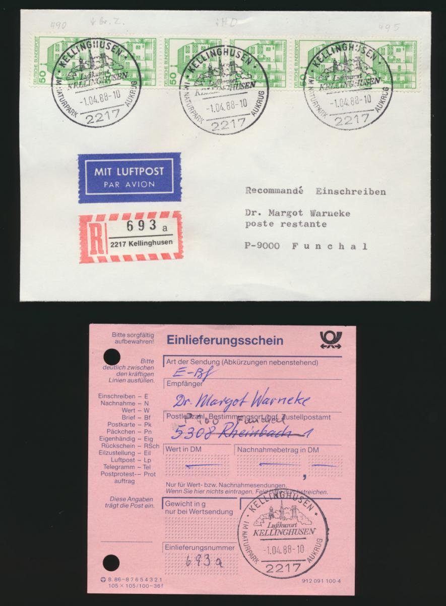 Bund R Luftpost Brief 5er Streifen 1038 Burgen & Schl Kellinghusen Einlieferungs 0