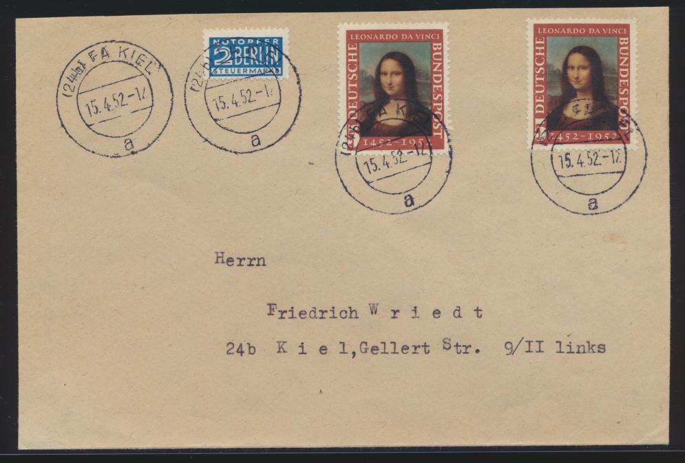 Bund Brief MEF Mona Lisa 148 als portogenauer FDC Ortsbrief Kiel sehr selten mit 0