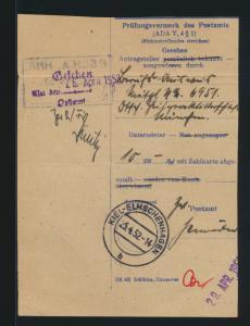 Bund Brief bzw. Postsache Prüfungsvermerk des Postamts Kiel Elmschenhagen 1952