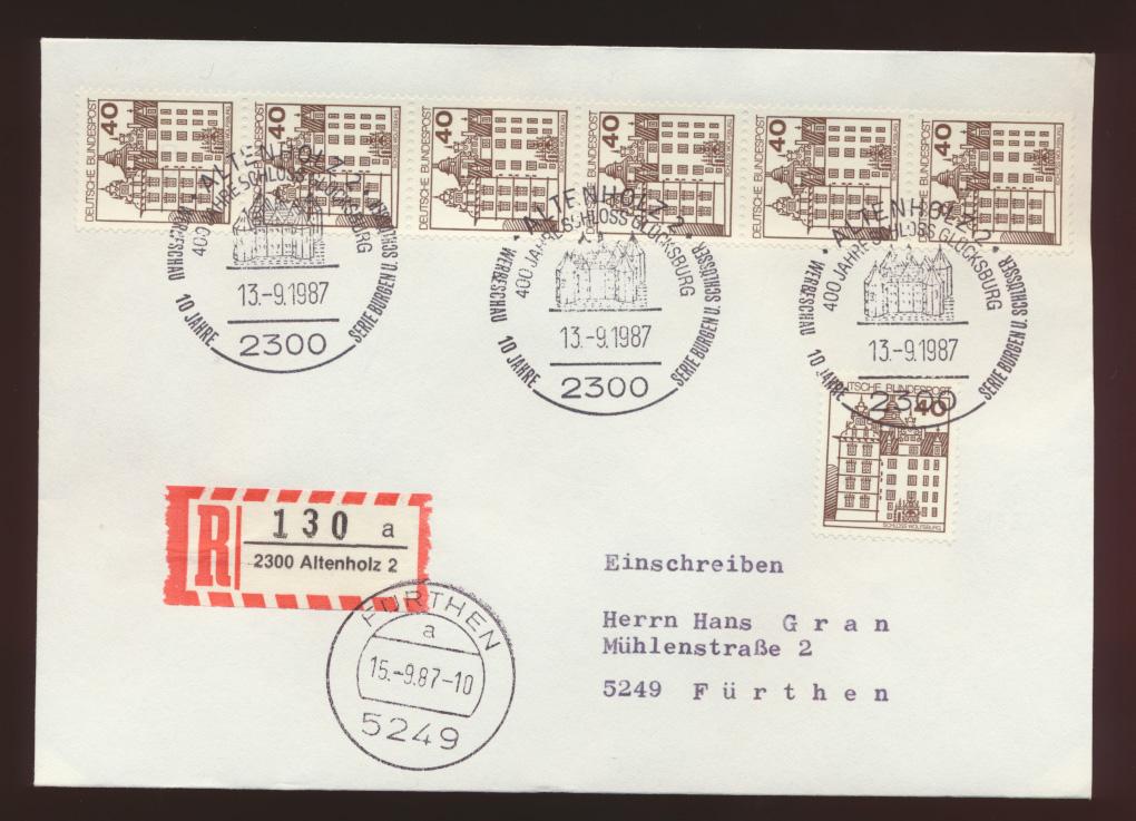 Bund R Brief MEF 1037 Burgen & Sch.+6er Streifen Rolle SST Altenholz Fürthen  0