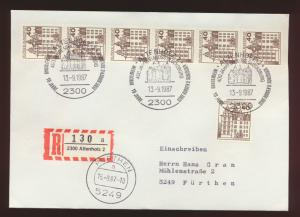 Bund R Brief MEF 1037 Burgen & Sch.+6er Streifen Rolle SST Altenholz Fürthen