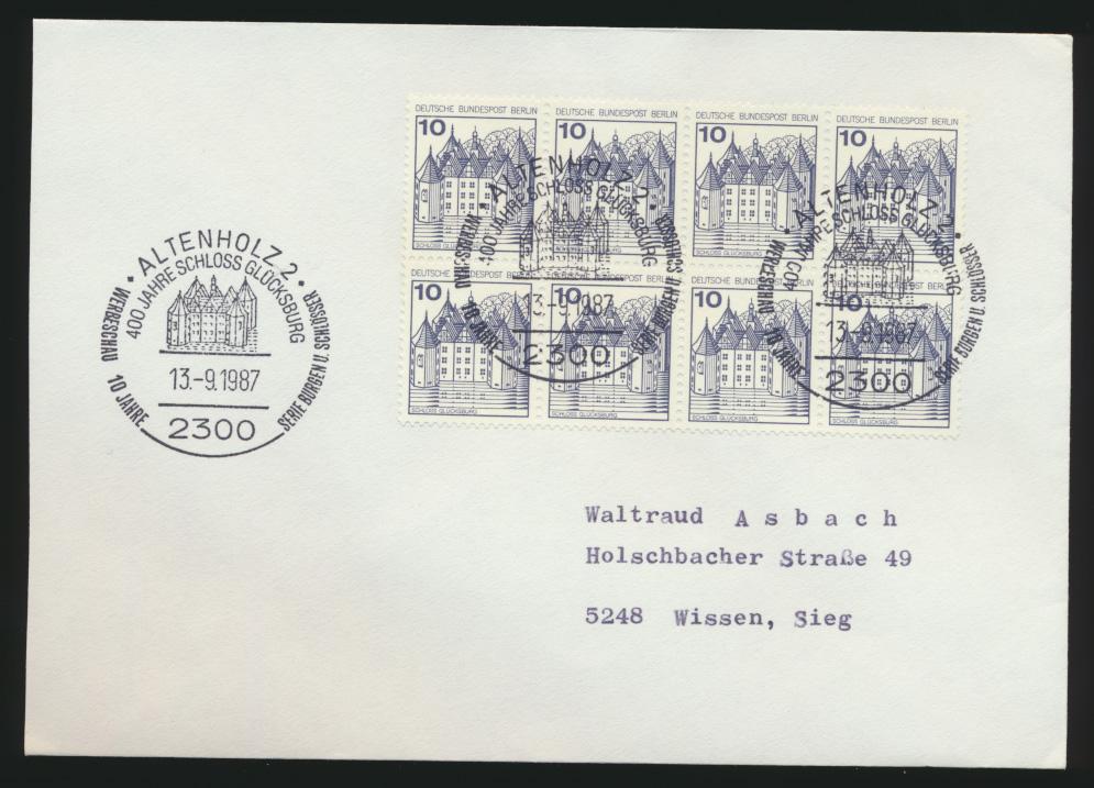 Berlin Brief MEF 532 Burgen & Sch.8er Block SST Altenholz Werbeschau 10 J. B&SCH 0