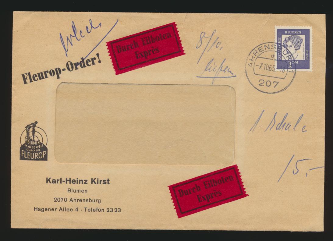 Bund Eilboten Express Brief EF 1 DM Bedeutende Deutsche 381 Ahrensburg Usingen  0