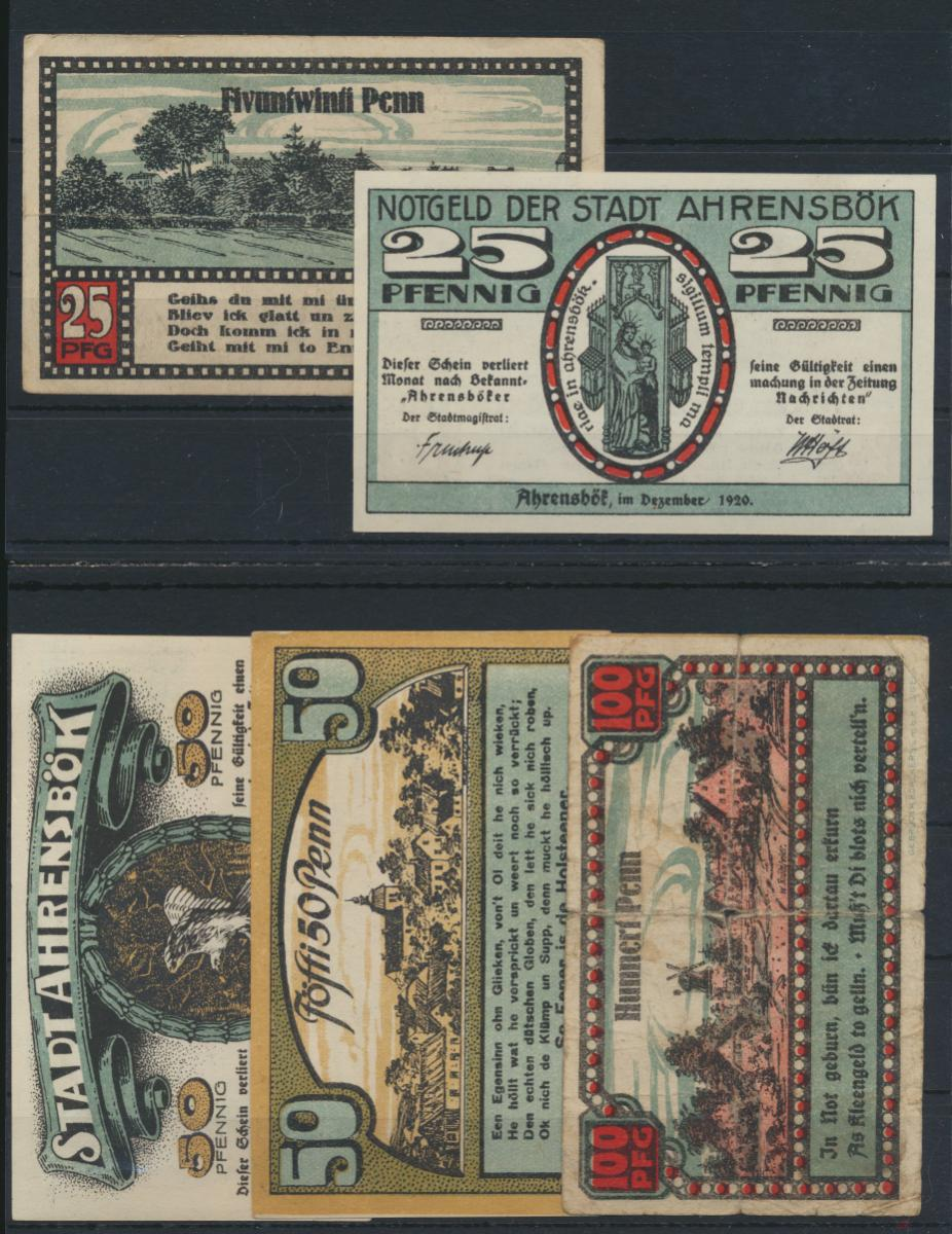 Geldscheine Banknoten Notgeld Ahrensbök 25-100 Hunnert Penn Schleswig Holstein 0