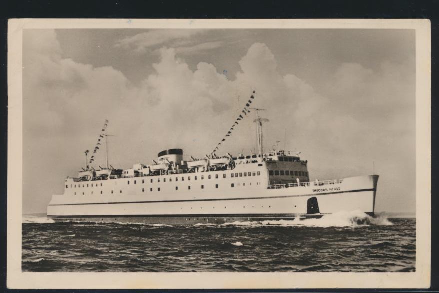 Ansichtskarte Schiffspost Fährschiff Th. Heuss Eisenbahn Verbindung Großenbrode  0