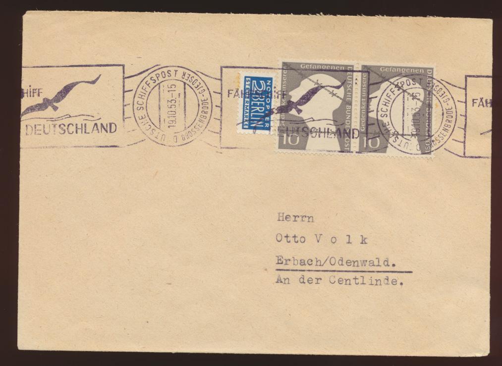 Schiffspost Bund Brief MEF 165 Kriegsgefangene Dt Schiffspost Großenbrode Gedser 0