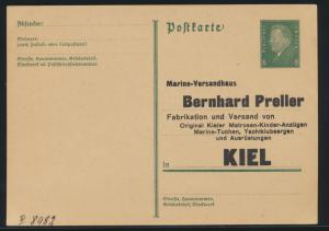 Deutsches Reich Privatganzsache Zudruck PP 113 Marine Versandhaus Preller Kiel