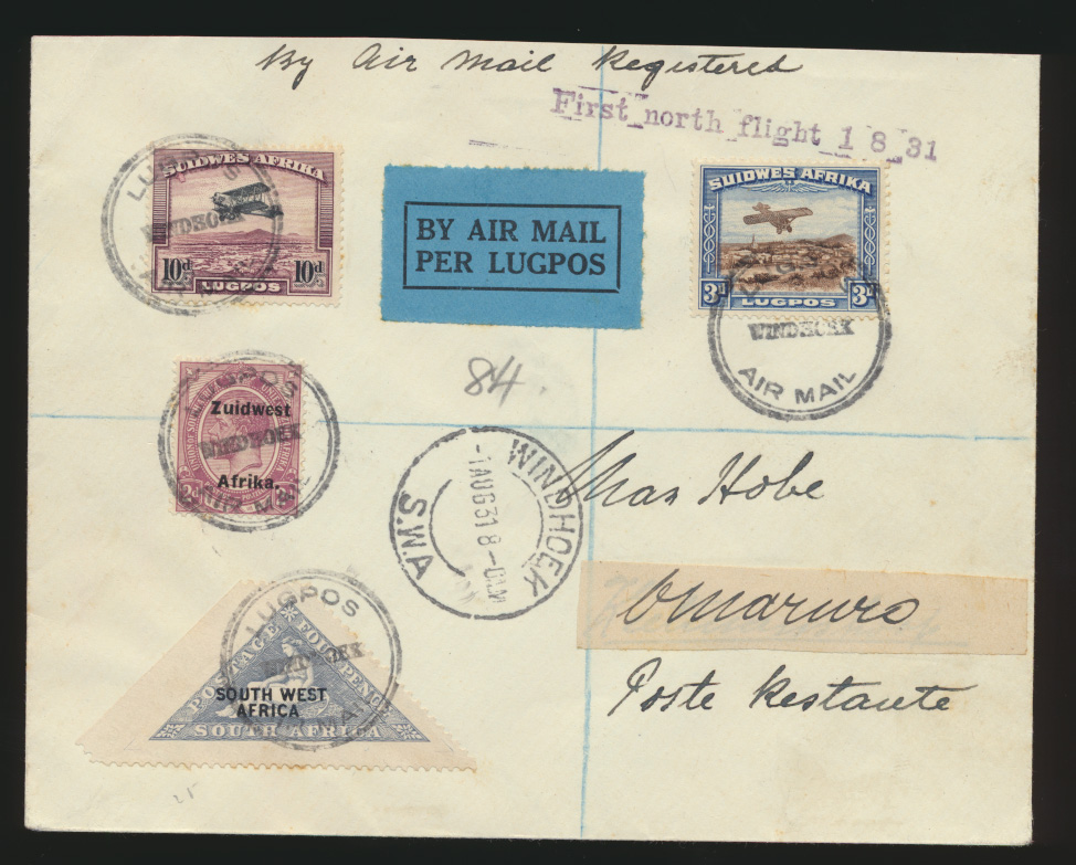 Flugpost air mail Africa Namibia Einschreiben Erstflug Windhoek Omaruro  0
