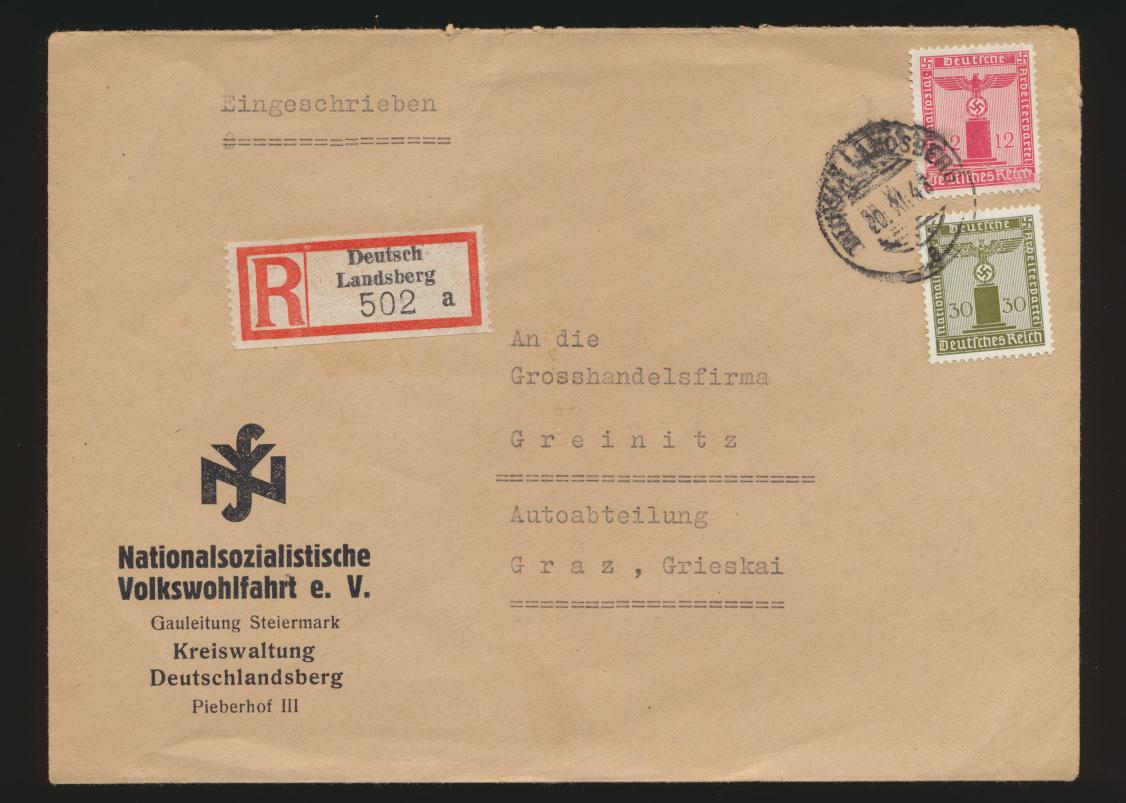 Österreich R Brief Deutschlandsberg frank D Reich Dienst Nationalsozialistische  0