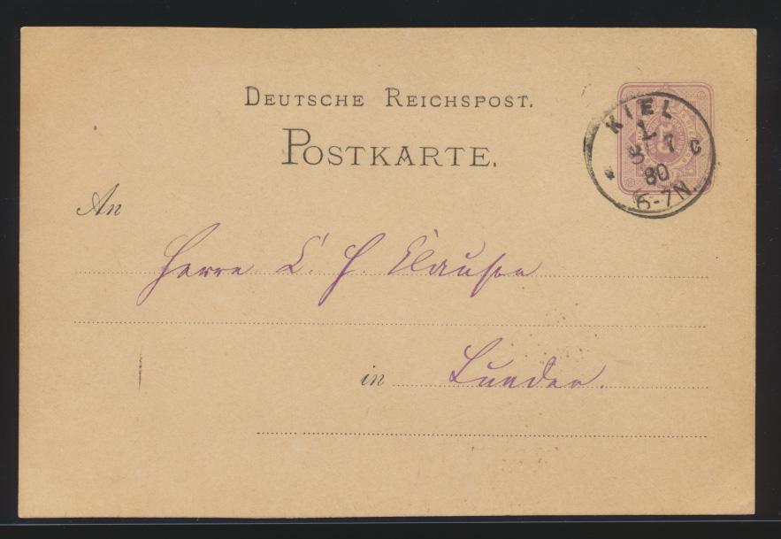 Deutsches Reich Ganzsache 5 Pfennige mit K1 Kiel 1 8.7.1880 nach Lunden  0