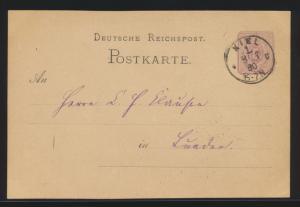 Deutsches Reich Ganzsache 5 Pfennige mit K1 Kiel 1 8.7.1880 nach Lunden