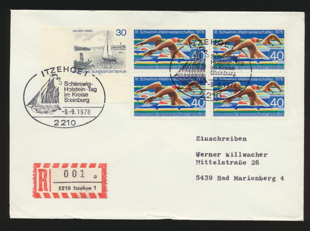 Berlin Sport Viererblock R-Brief 571 SST Itzehoe nach Bad Marienberg Schiff  0