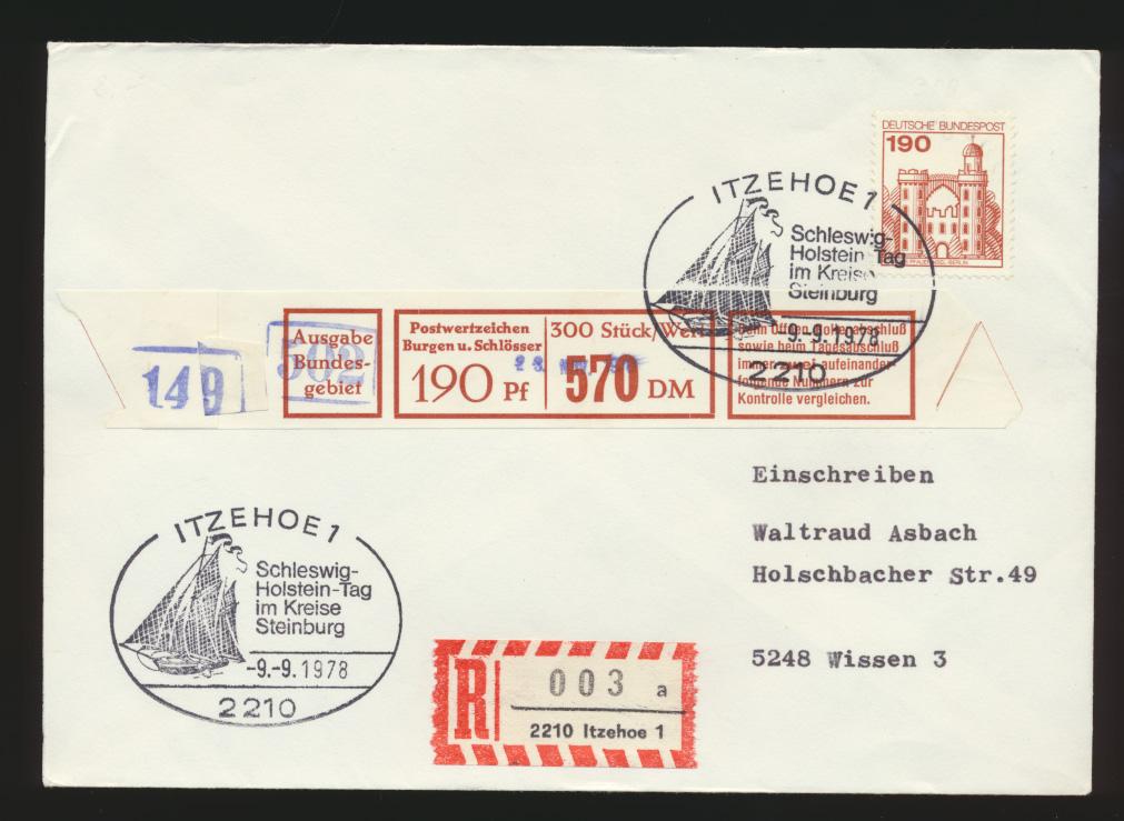 Bund R Brief 919 Rollenmarke mit Banderole SST Itzehoe nach Wissen 0