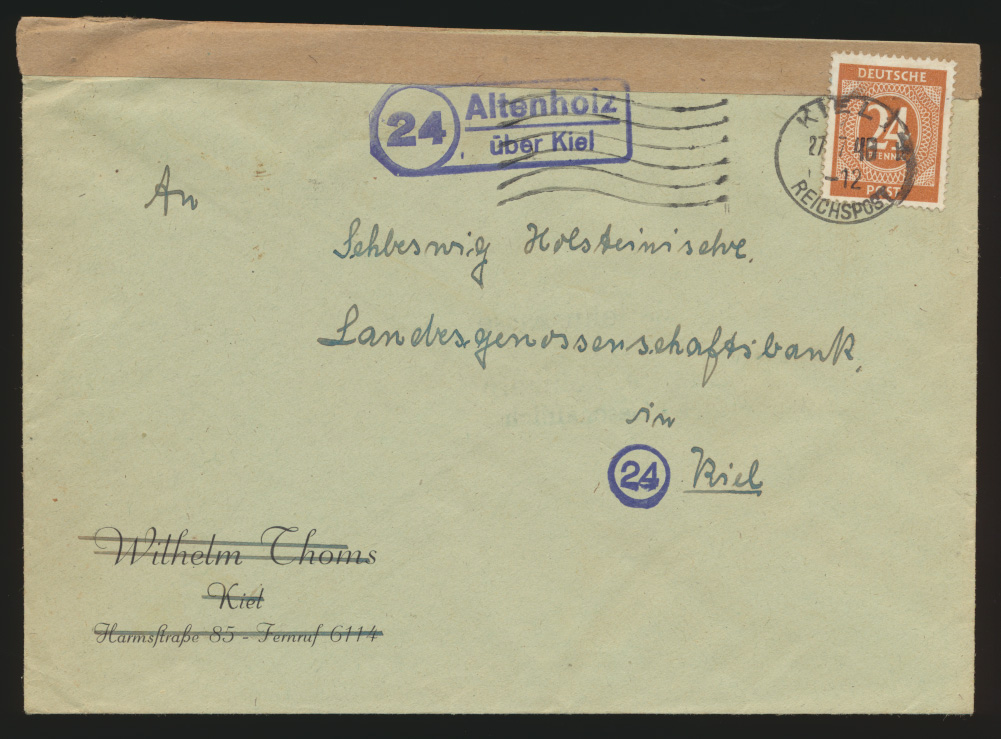 Besetzung Gemeinschaft Brief EF Landpoststempel Altenholz über Kiel +Reichspost  0