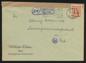Besetzung Gemeinschaft Brief EF Landpoststempel Altenholz über Kiel +Reichspost