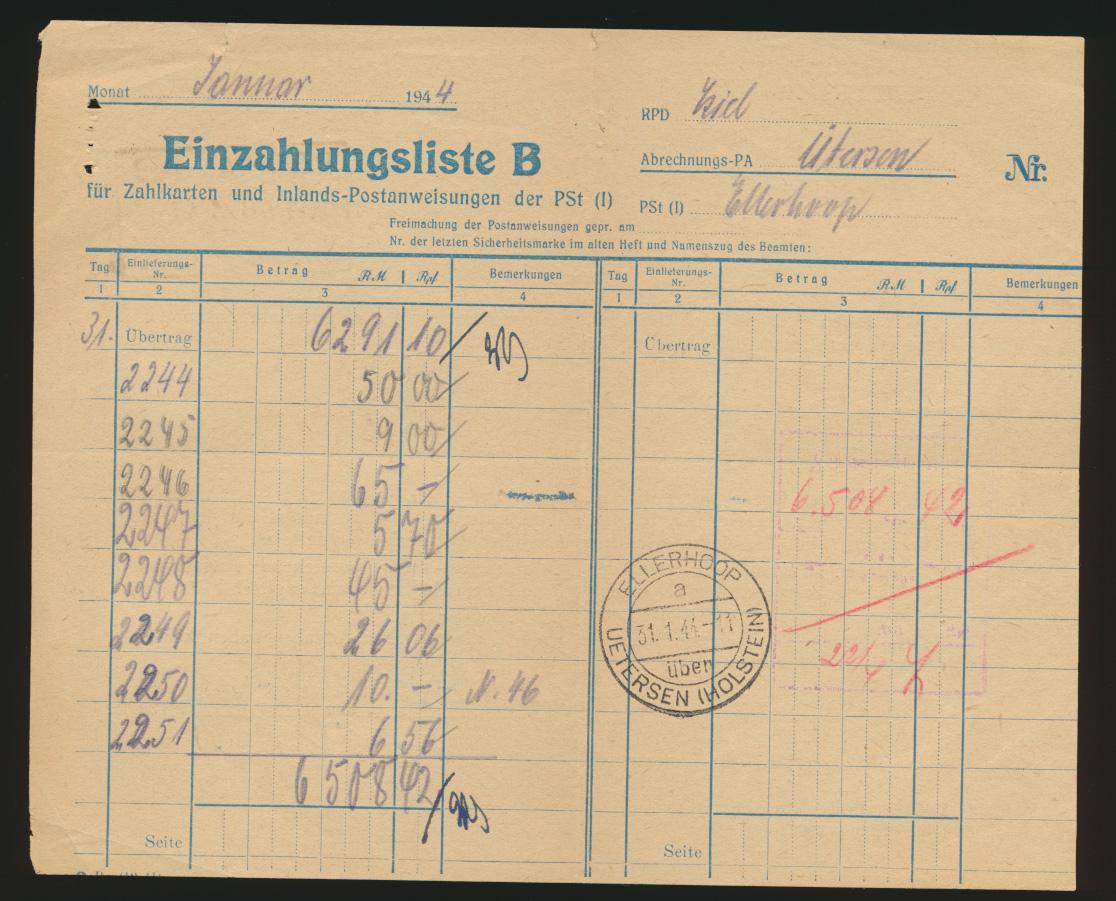 Postsache Reich Einzahlungsliste B Landpoststempel Ellerhoop über Uetersen Hol - 0
