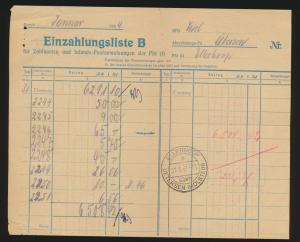 Postsache Reich Einzahlungsliste B Landpoststempel Ellerhoop über Uetersen Hol -