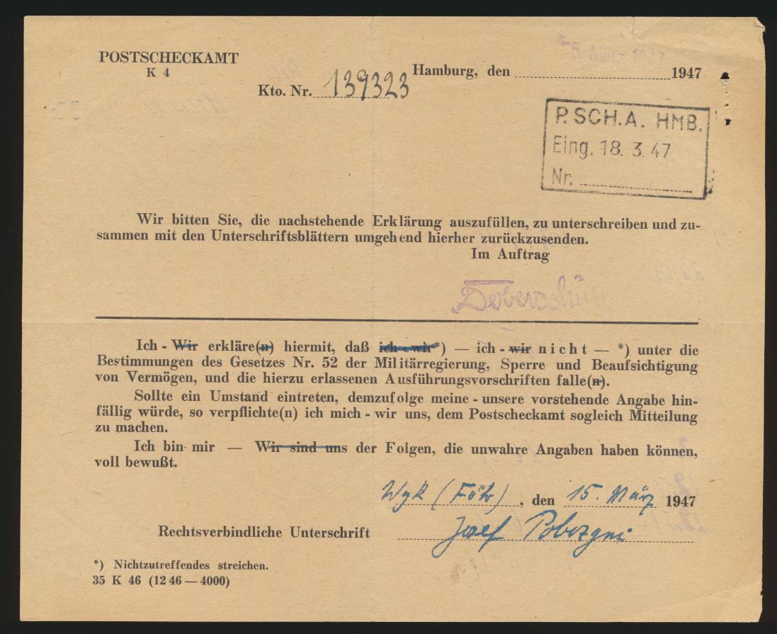 Postsache Reich Einzahlungsliste B Landpoststempel Ellerhoop über Uetersen Hol - 1