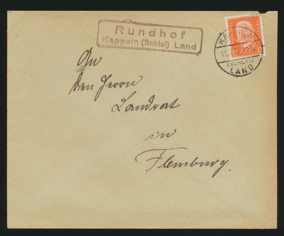 D. Reich Brief EF Landpoststempel Rundhof Kappeln Schlei Land nach Flensburg 0