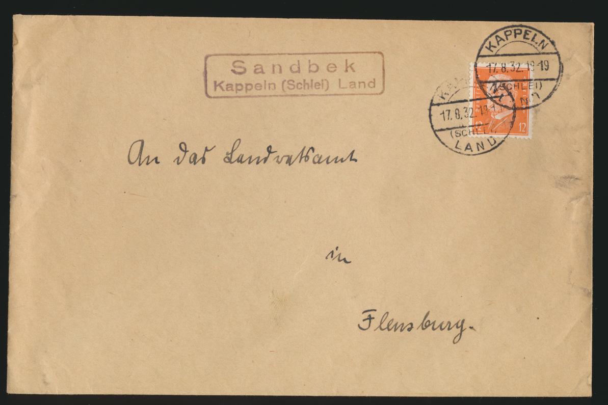 D. Reich Brief EF Landpoststempel Sandbek Kappeln Schlei Land nach Flensburg 0