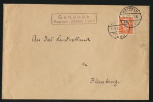 D. Reich Brief EF Landpoststempel Sandbek Kappeln Schlei Land nach Flensburg